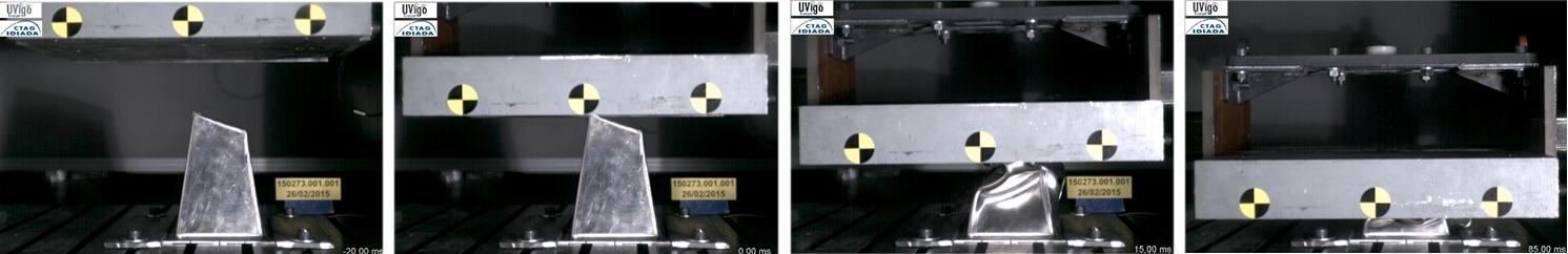 Ensayos de choque realizados en Ctag sobre una pieza del monoplaza diseñado por UVIGO Motorsport
