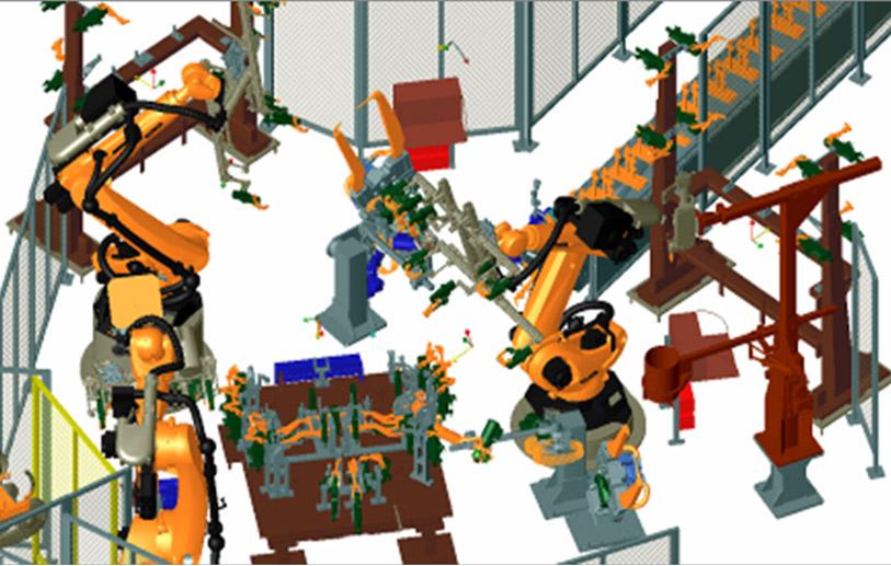 Robcad/Delmia robotics process simulation