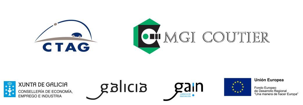 Logotipos de CTAG, MGI-Coutier, Xunta de Galicia Consellería de Economía, Emprego e Industria, Galicia, GAÍN Axencia de innovación y Unión Europea.
