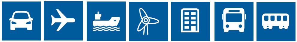 coche - avión - barco - generador eólico - edificio - autobús - tranvía