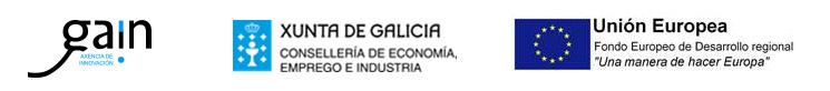 """Gaín Axencia de Innovación, Xunta de Galicia, Consellería de Economía, Emprego e Industria, Unión Europea, Fondo Europeo de Desarrollo regional """"Una manera de hacer Europa"""""""