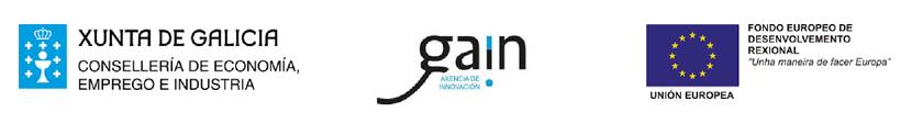"""Logotipos: Xunta de Galicia, Consellería de Economía, Emprego e Industria. GAIN, Axencia de Innovación. Unión Europea, Fondo Europe de Desenvolvemento Rexional """"Unha maneira de facer Europa"""""""