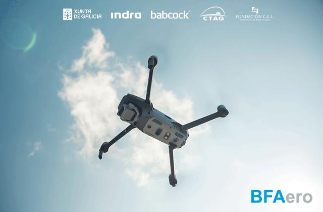 Drone junto a logotipos de los participantes