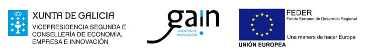 Vicepresidencia segunda y la Consellería de Economía, Empresa e Innovación, GAIN, Unión Europea, en el marco del Programa Operativo FEDER Galicia 2014-2020.