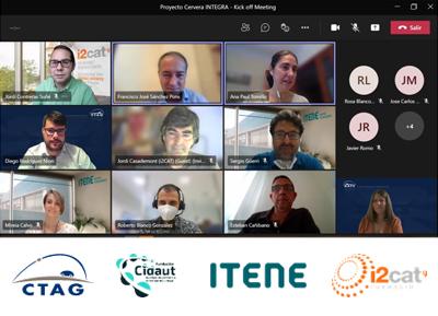 Participantes en la reunión del proyecto. Logos de CTAG, Cidaut, ITENE e i2cat